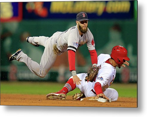 2nd Base Metal Print featuring the photograph Dustin Pedroia, Jon Jay, and David Freese by Dilip Vishwanat