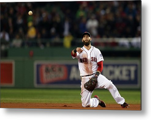 Playoffs Metal Print featuring the photograph Dustin Pedroia by Rob Carr