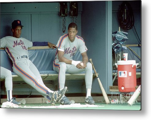 Dwight Gooden Metal Print featuring the photograph Dwight Gooden and Darryl Strawberry by George Gojkovich