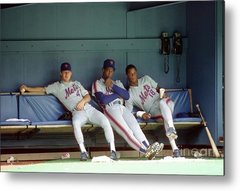 Dwight Gooden Metal Print featuring the photograph Dwight Gooden, Darryl Strawberry, and Lenny Dykstra by George Gojkovich