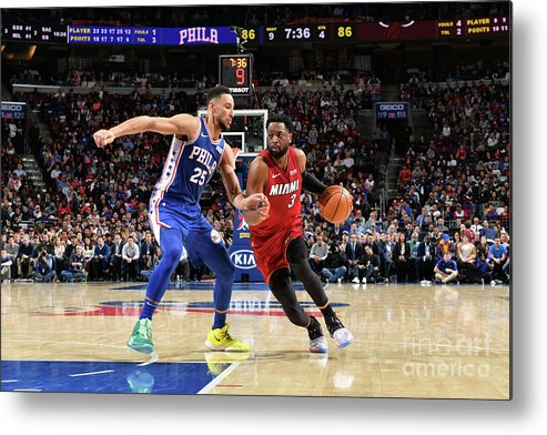 Nba Pro Basketball Metal Print featuring the photograph Dwyane Wade and Ben Simmons by Jesse D. Garrabrant
