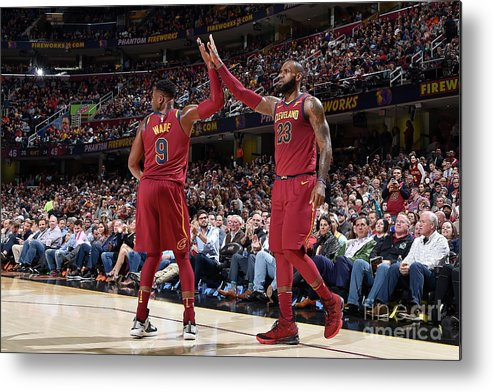 Nba Pro Basketball Metal Print featuring the photograph Dwyane Wade and Lebron James by David Liam Kyle
