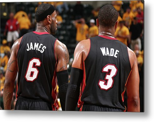 Playoffs Metal Print featuring the photograph Dwyane Wade and Lebron James by Nathaniel S. Butler