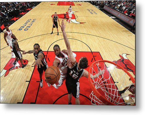 Nba Pro Basketball Metal Print featuring the photograph Dwyane Wade and Pau Gasol by Nathaniel S. Butler