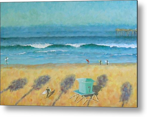 Life Guard Tower Metal Print featuring the painting Tower Number Seven by Philip Fleischer