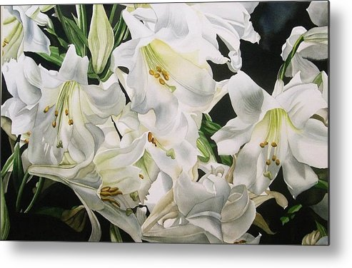 Flower Metal Print featuring the painting Easter Lilies by Alfred Ng