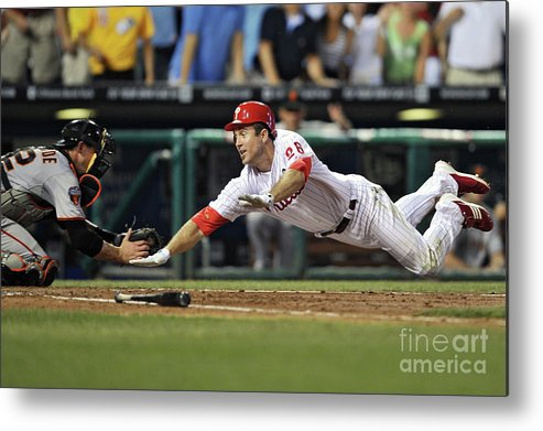 Citizens Bank Park Metal Print featuring the photograph Eli Whiteside and Chase Utley by Drew Hallowell