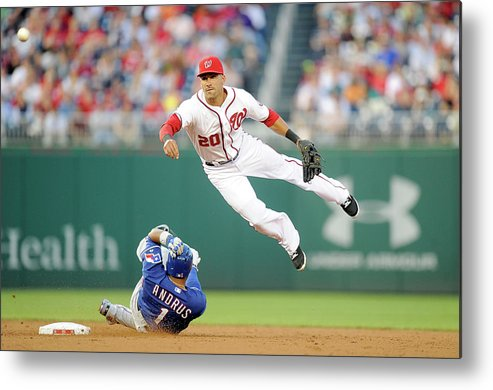 American League Baseball Metal Print featuring the photograph Elvis Andrus and Ian Desmond by Greg Fiume