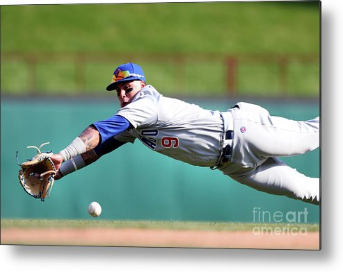 Three Quarter Length Metal Print featuring the photograph Elvis Andrus And Javier Baez by Tom Pennington