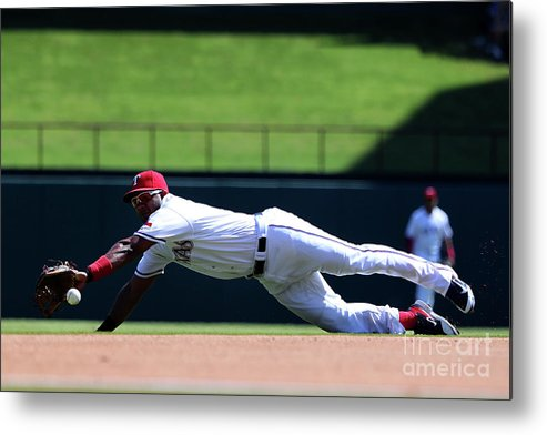 Second Inning Metal Print featuring the photograph Elvis Andrus and Logan Forsythe by Tom Pennington