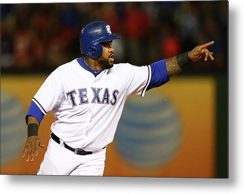 Three Quarter Length Metal Print featuring the photograph Elvis Andrus and Prince Fielder by Sarah Crabill