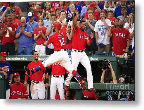 Second Inning Metal Print featuring the photograph Elvis Andrus and Rougned Odor by Ron Jenkins