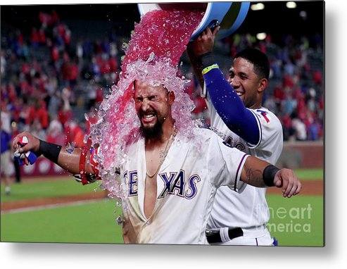 Ninth Inning Metal Print featuring the photograph Elvis Andrus and Rougned Odor by Tom Pennington