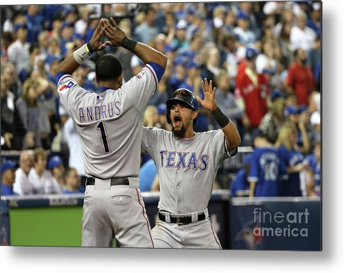 Game Two Metal Print featuring the photograph Elvis Andrus and Rougned Odor by Tom Szczerbowski