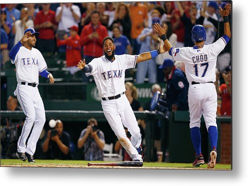 Ninth Inning Metal Print featuring the photograph Elvis Andrus and Shin-soo Choo by Tom Pennington