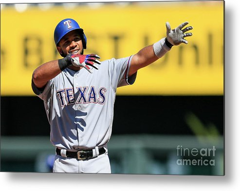 People Metal Print featuring the photograph Elvis Andrus by Brian Davidson