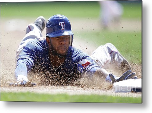 American League Baseball Metal Print featuring the photograph Elvis Andrus by Gregory Shamus