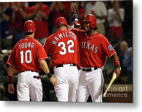 Playoffs Metal Print featuring the photograph Elvis Andrus, Michael Young, and Josh Hamilton by Ronald Martinez