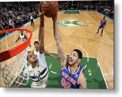 Nba Pro Basketball Metal Print featuring the photograph Enes Kanter and John Henson by Gary Dineen