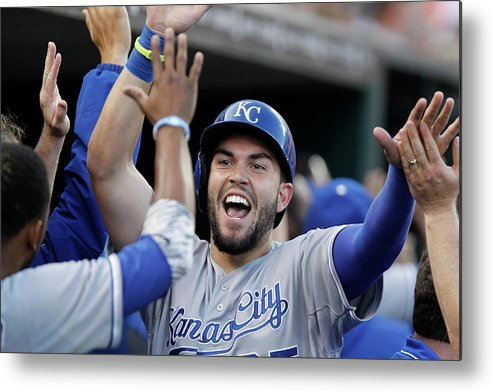 American League Baseball Metal Print featuring the photograph Eric Hosmer and Billy Butler by Duane Burleson