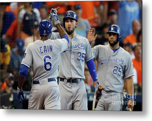 Three Quarter Length Metal Print featuring the photograph Eric Hosmer and Lorenzo Cain by Bob Levey