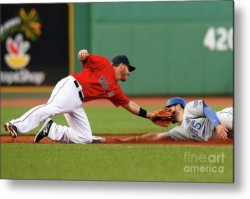 American League Baseball Metal Print featuring the photograph Eric Hosmer and Stephen Drew by Jared Wickerham