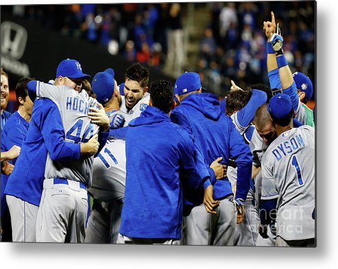People Metal Print featuring the photograph Eric Hosmer, Drew Butera, and Wade Davis by Al Bello