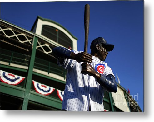 Playoffs Metal Print featuring the photograph Ernie Banks by Alex Trautwig