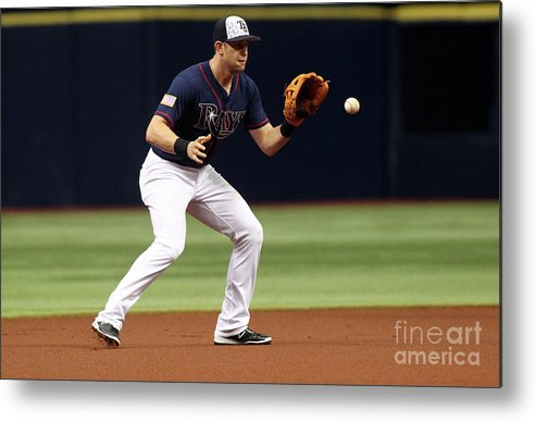 People Metal Print featuring the photograph Evan Longoria and Mike Trout by Brian Blanco