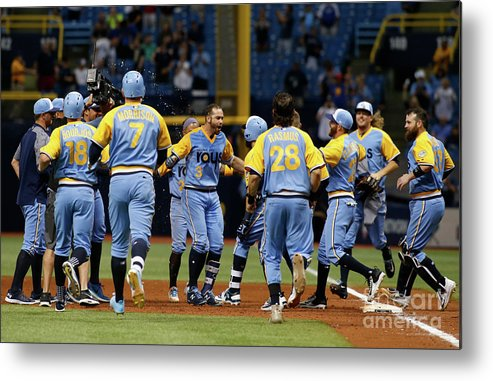 People Metal Print featuring the photograph Evan Longoria and Peter Bourjos by Brian Blanco