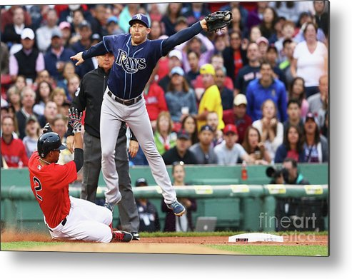 People Metal Print featuring the photograph Evan Longoria and Xander Bogaerts by Maddie Meyer