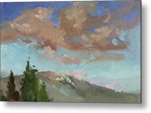 Sky Paintings Metal Print featuring the painting Evening Cloud Cover by Betty Jean Billups