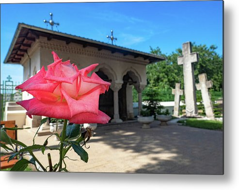 Bucharest Metal Print featuring the photograph Flower by a Monastery Shrine - Bucharest, Romania by Barry O Carroll
