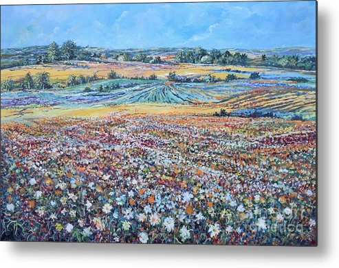 Flower Metal Print featuring the painting Flower Field by Sinisa Saratlic