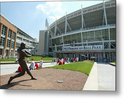 Great American Ball Park Metal Print featuring the photograph Frank Robinson by Andy Lyons