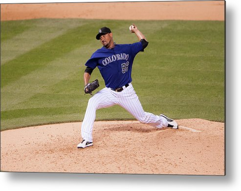 Baseball Pitcher Metal Print featuring the photograph Franklin Morales by Dustin Bradford