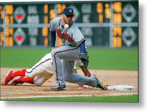 Sports Ball Metal Print featuring the photograph Freddie Freeman and Jimmy Rollins by Rich Schultz
