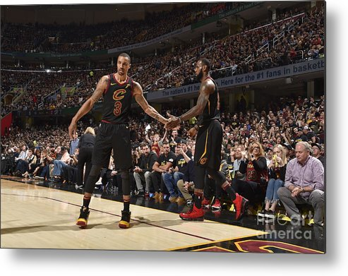 Playoffs Metal Print featuring the photograph George Hill and Lebron James by Jeff Haynes