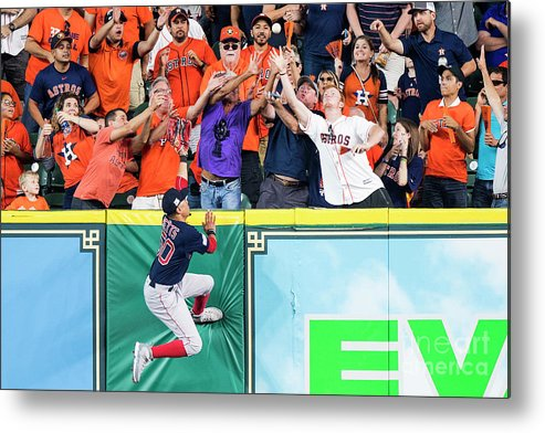 Game Two Metal Print featuring the photograph George Springer and Mookie Betts by Billie Weiss/boston Red Sox