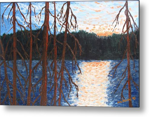 Setting Sun Metal Print featuring the painting Georgian Bay Ghosts by Ian MacDonald