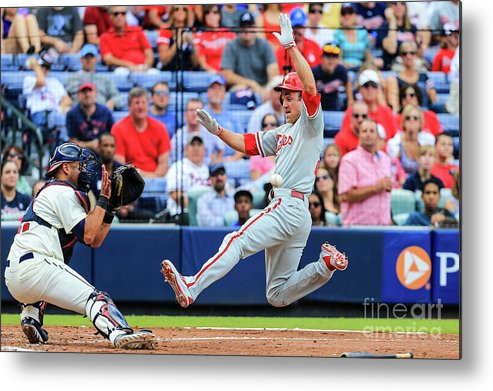 Atlanta Metal Print featuring the photograph Gerald Laird and Chase Utley by Daniel Shirey