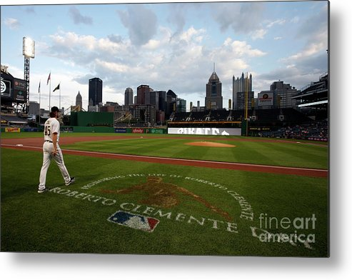People Metal Print featuring the photograph Gerrit Cole and Roberto Clemente by Justin K. Aller