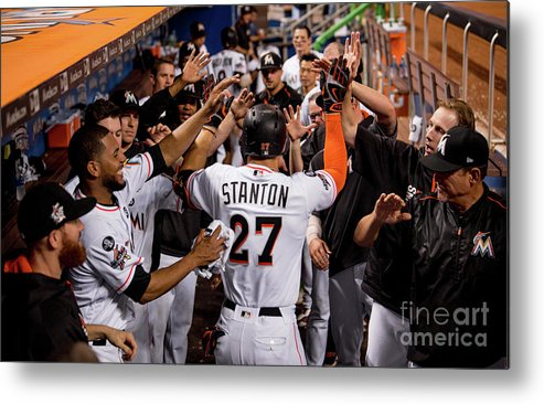 People Metal Print featuring the photograph Giancarlo Stanton by Rob Foldy/miami Marlins