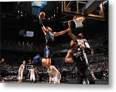 Nba Pro Basketball Metal Print featuring the photograph Giannis Antetokounmpo and Blake Griffin by Jesse D. Garrabrant