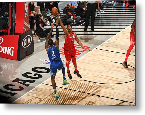 Nba Pro Basketball Metal Print featuring the photograph Giannis Antetokounmpo and Lebron James by Garrett Ellwood