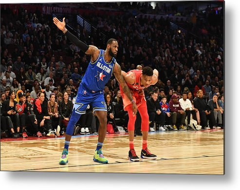 Nba Pro Basketball Metal Print featuring the photograph Giannis Antetokounmpo and Lebron James by Jesse D. Garrabrant