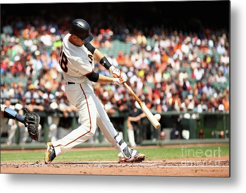 San Francisco Metal Print featuring the photograph Gorkys Hernandez and Buster Posey by Ezra Shaw