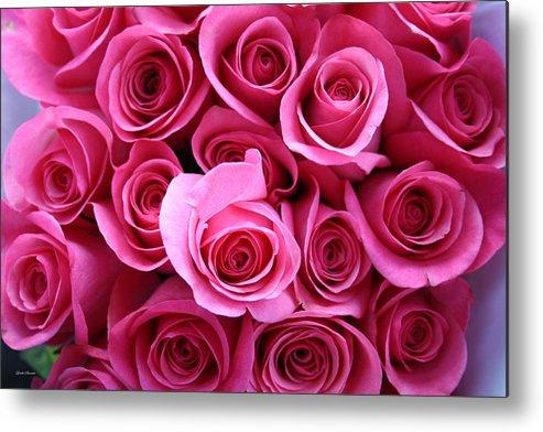 Pink Roses Metal Print featuring the photograph Grandma Roses by Linda Sannuti