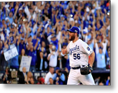 American League Baseball Metal Print featuring the photograph Greg Holland by Jamie Squire