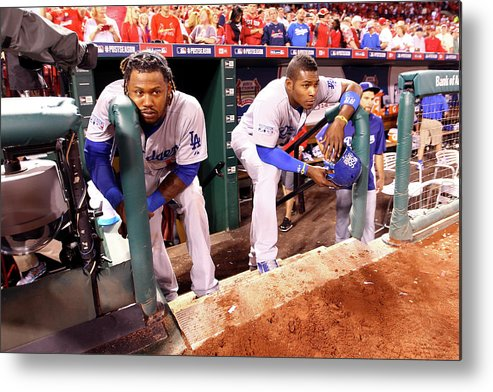 American League Baseball Metal Print featuring the photograph Hanley Ramirez and Yasiel Puig by Jamie Squire